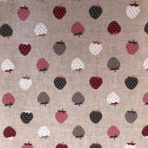 59 - linen with pink grey whte strawberries