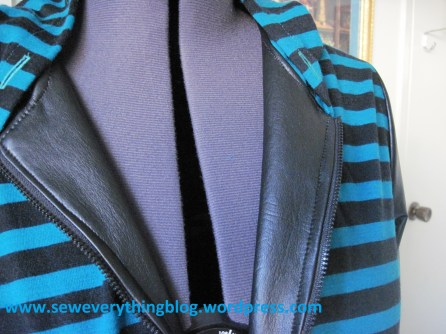 Faux leather facings