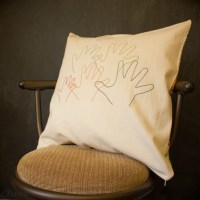 My Handful - Embroidered Hand Print Pillow