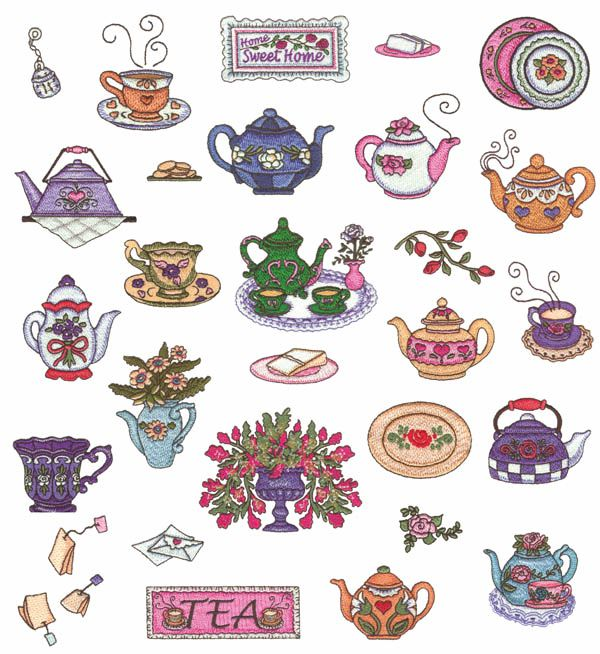 Teapots by Annie Lang Embroidery Designs