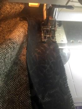 Sewing first trim seam