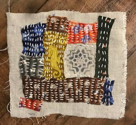 Kantha stitched silk tie scraps