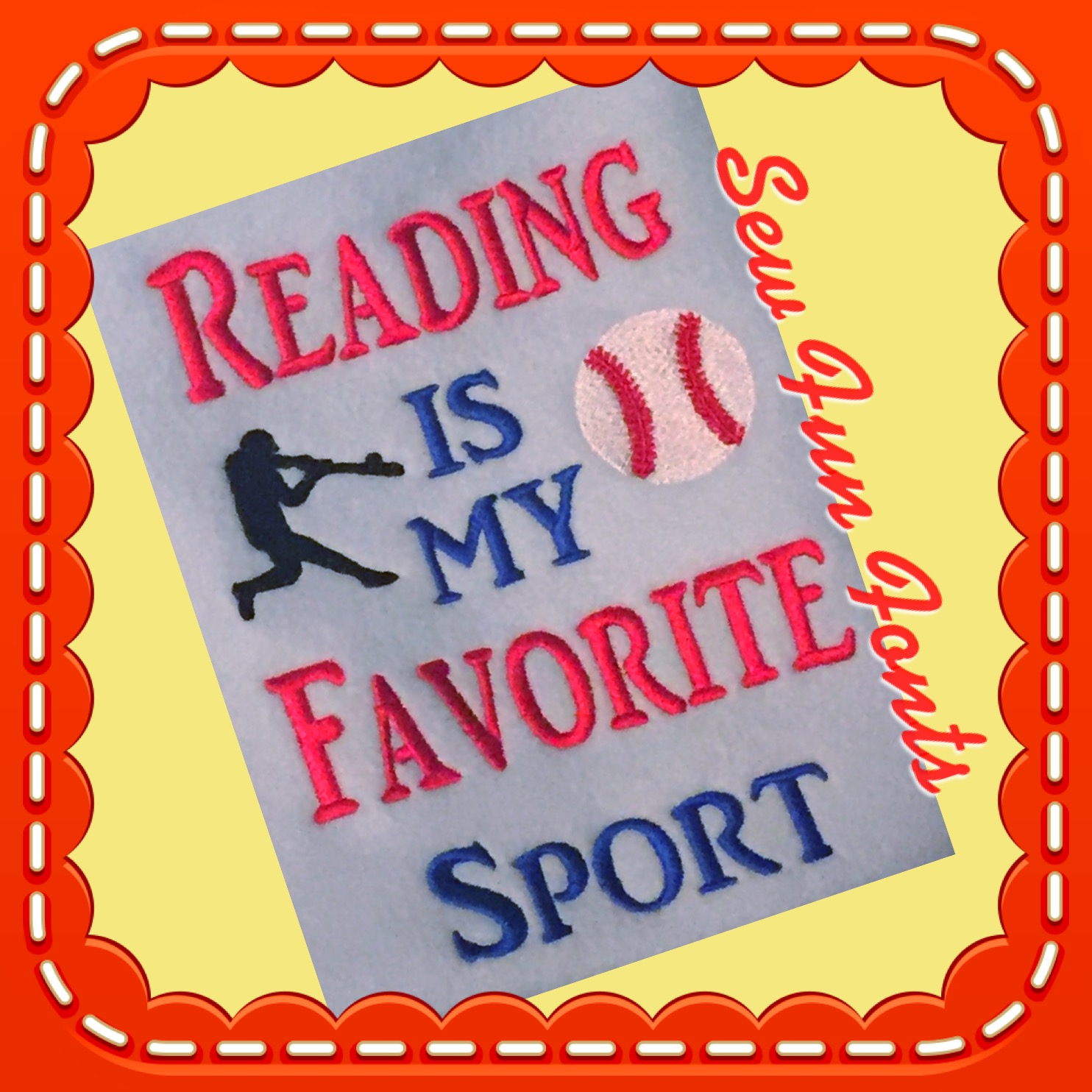 Reading Is My Favorite Sport Baseball Reading Saying Sew