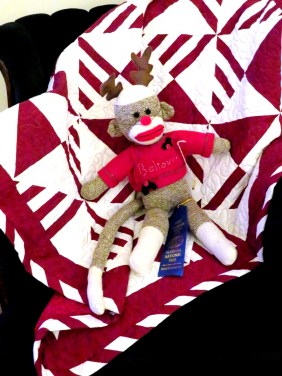 Peppermint Pinwheels with sock monkey by LJ Christensen