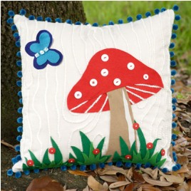 Free Pattern Throw Pillow With Woodland Mushroom Applique