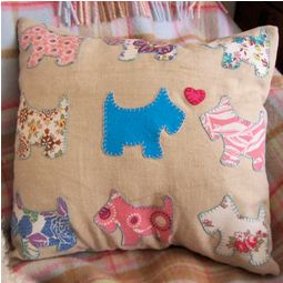 Throw Pillow Sewing Template : Free pattern: Scottie dog appliqued throw pillow ? Sewing