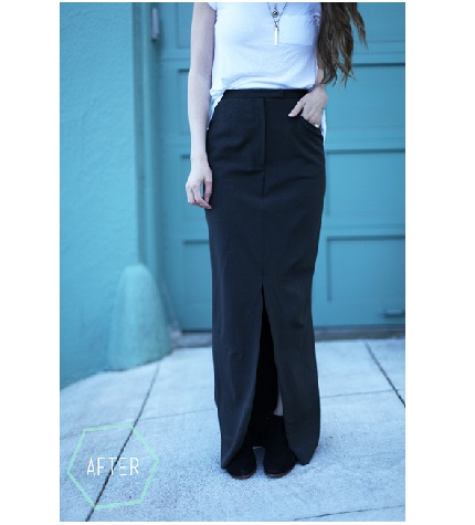 Tutorial: Trousers to maxi skirt refashion