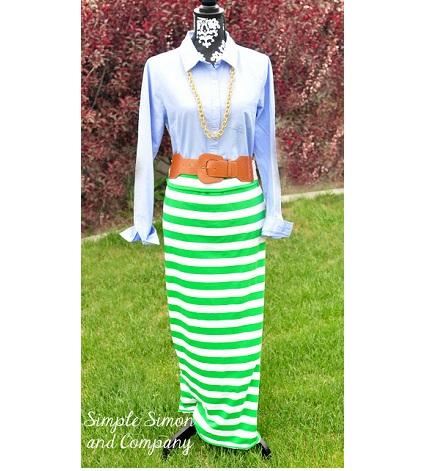 Tutorial Easy Striped Maxi Skirt Sewing