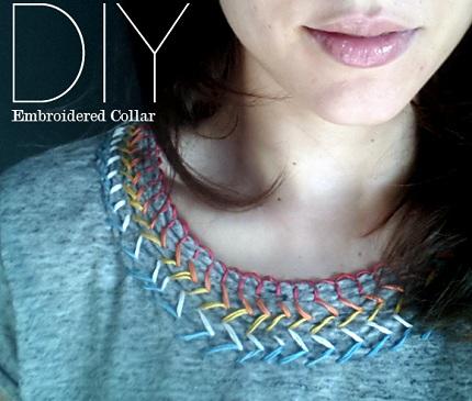 Tutorial: Embroidered rainbow neckline