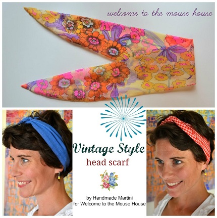Free pattern: Vintage inspired head scarf in two versions