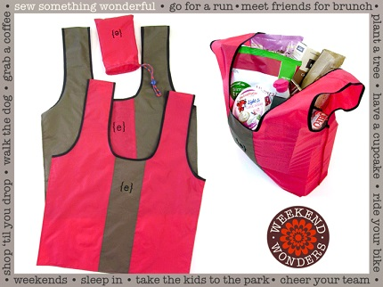 Tutorial: Rip stop nylon grocery bags and carrying pouch
