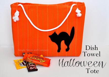 Tutorial: Halloween tote from a dishtowel