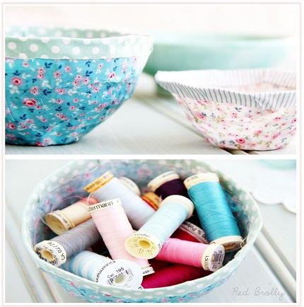 Tutorial: No-sew scrap fabric bowls