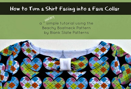 Tutorial: Make a bow collar using a shirt facing pattern