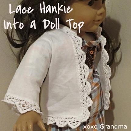 """Free pattern: Lace hankie 18"""" doll jacket"""