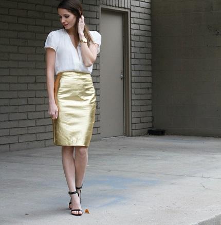 Tutorial: Metallic gold pencil skirt