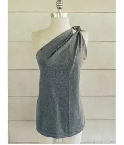 Tutorial: No-sew one shoulder t-shirt refashion
