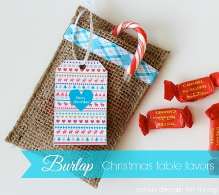 Tutorial: Burlap ribbon favor bags