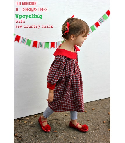 Idea file: Nightshirt refashioned to a little girl's Christmas dress