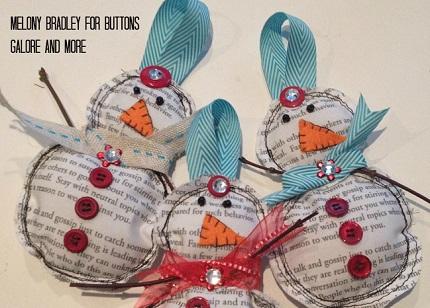 Tutorial: Newsprint fabric snowman ornaments