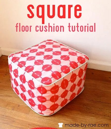 Tutorial: Square floor cushion stuffed with fabric scraps