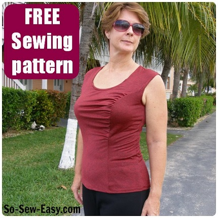 Free pattern: Asymmetrical gathered front top