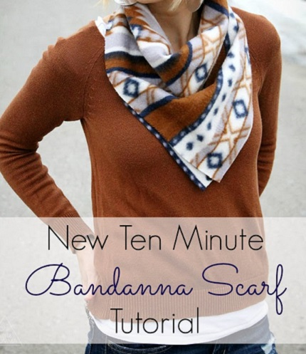 Tutorial: 10 minute fleece bandana scarf