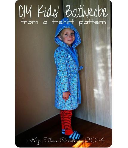 Tutorial: Make a child's bathrobe using a t-shirt pattern