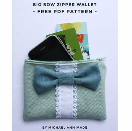 Tutorial Big Bow Zippered Wallet Sewing