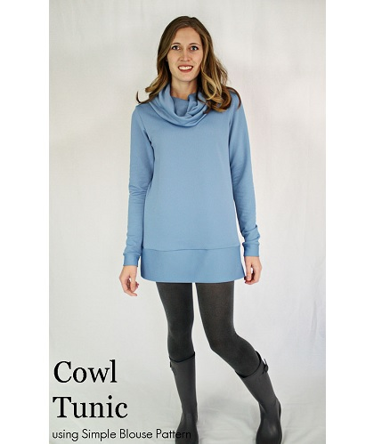 Tutorial: Cowl Tunic variation of a Simple Blouse Pattern