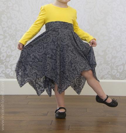 Tutorial: Double-layer handkerchief hem t-shirt dress
