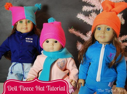 Tutorial: American Girl and Bitty Baby fleece hats in three styles