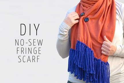 Tutorial: No-sew yarn fringe scarf