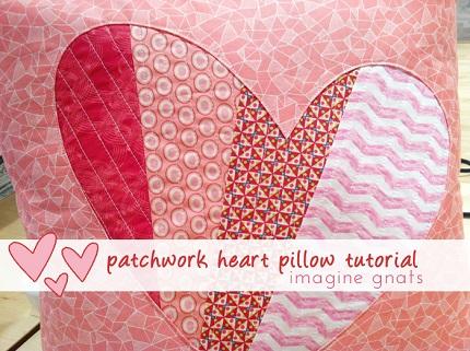 Tutorial: Patchwork reverse applique heart pillow