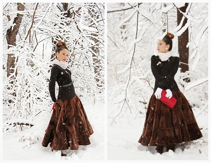 Free pattern: Steam Train tiered wool and faux fur skirt
