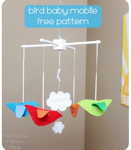 Free pattern: Bird baby mobile, no sewing required