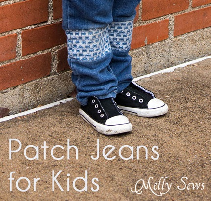 Tutorial: Patch kids' jeans and lengthen them at the same time