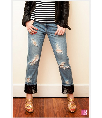 Tutorial: Distressed fringed jeans