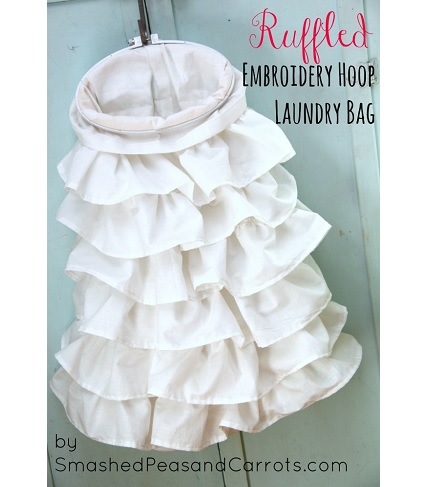 Tutorial: Embroidery hoop ruffled laundry bag