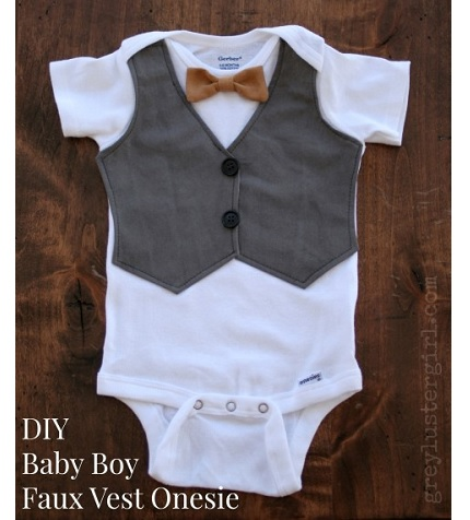 Tutorial: Baby boy faux vest onesie