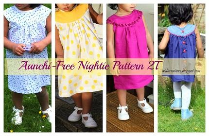 Free Pattern Aanchi Toddler Round Yoke Nightgown Or Dress
