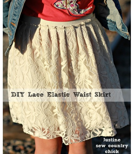 Tutorial Easy Elastic Waist Lace Skirt Sewing