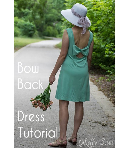 Tutorial: Deep scoop bow back dress you can wear with a bra
