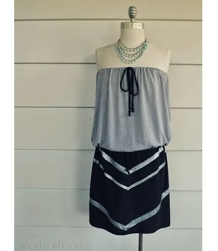 Tutorial: DIY strapless chevron t-shirt dress