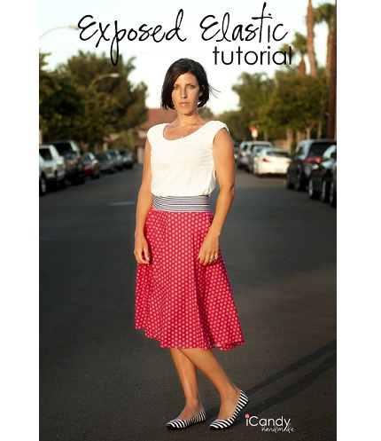 Tutorial: Exposed elastic waist skirt with a clean finish inside