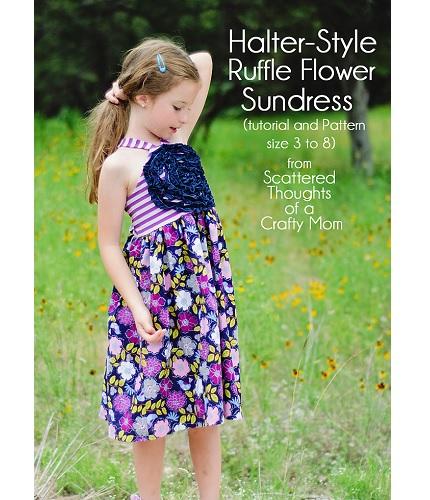 Free pattern: Girl's halter ruffle flower sundress