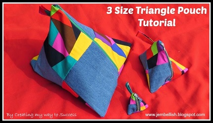 Tutorial: Triangle zippered pouch in 3 sizes
