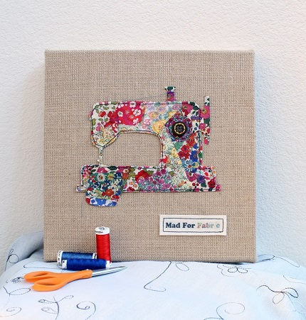Tutorial: Scrap fabric sewing machine wall art – Sewing