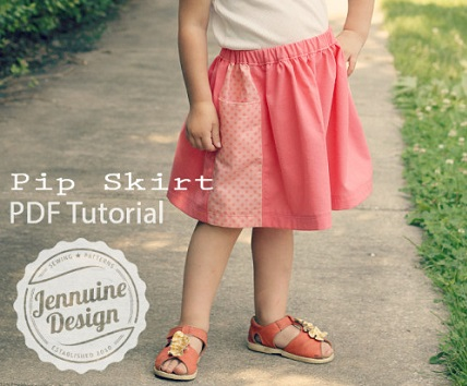 Tutorial: Girls' Pip Skirt with contrast pocket panels