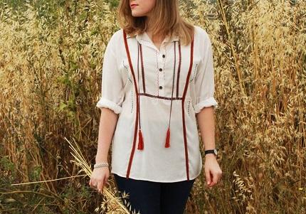 Tutorial: Boho romance ribbon trimmed shirt